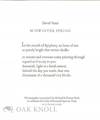 MIDWINTER SPRING. David Yezzi