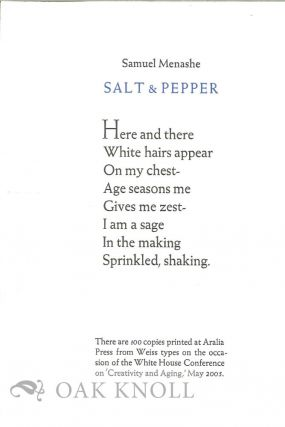 SALT & PEPPER. Samuel Menashe