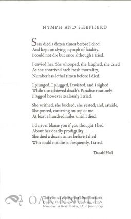 NYMPH AND SHEPHERD. Donald Hall