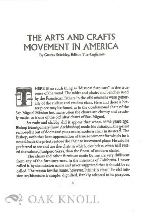 THE ARTS AND CRAFTS MOVEMENT IN AMERICA.