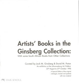 BOOKNESSES: ARTISTS' BOOKS FROM THE JACK GINSBERG COLLECTION