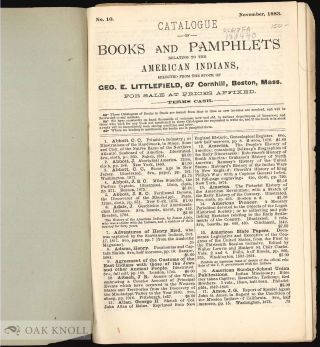 CATALOGUE OF BOOKS AND PAMPHLETS RELATING TO THE AMERICAN INDIANS.