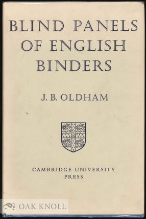 BLIND PANELS OF ENGLISH BINDERS. J. Basil Oldham.