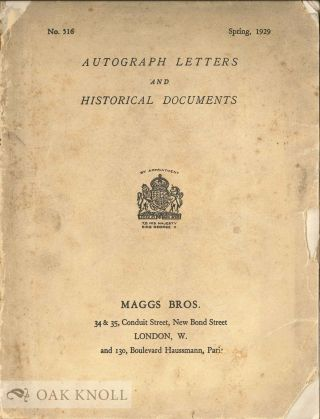 AUTOGRAPH LETTERS AND HISTORICAL DOCUMENTS. Maggs