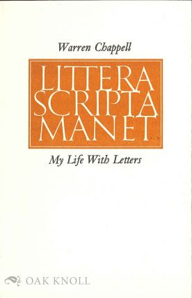MY LIFE WITH LETTERS. Warren Chappell