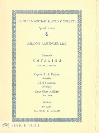 SPECIAL CRUISE SALOON PASSENGER LIST
