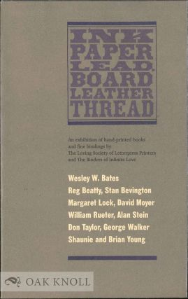INK PAPER LEAD, BOARD LEATHER THREAD. Wesley W. et. al Bates