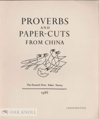 Prospectus for PROVERBS AND PAPER-CUTS FROM CHINA