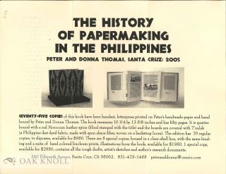 Prospectus for THE HISTORY OF PAPERMAKING IN THE PHILIPPINES. Peter and Donna Thomas