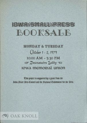 Announcement of Iowa Small Press Booksale.