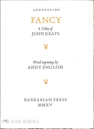 Prospectus for FANCY: 8 ODES OF JOHN KEATS. John Keats