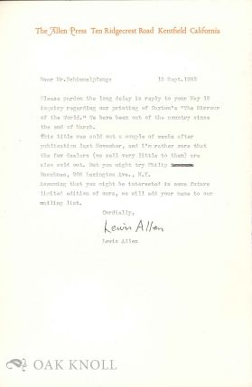 Four letters from Lewis Allen to Richard Schimmelpfeng.