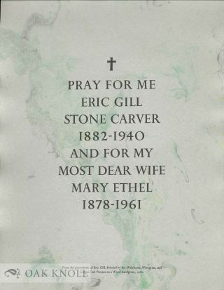 PRAY FOR ME ERIC GILL STONE CARVER