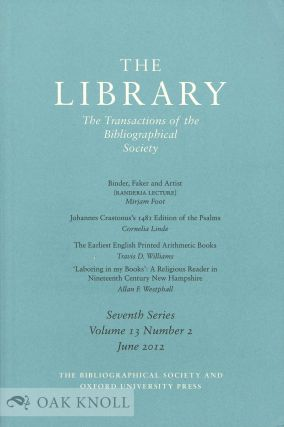 THE LIBRARY:THE TRANSACTIONS OF THE BIBLIOGRAPHICAL SOCIETY