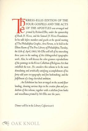 KRESS-ELLIS EDITION OF THE FOUR GOSPELS AND THE ACTS OF THE APOSTLES