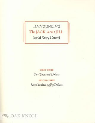 ANNOUNCING THE JACK AND JILL SERIAL STORY CONTEST