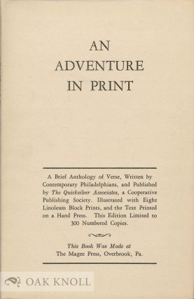 AN ADVENTURE IN PRINT: A BRIEF ANTHOLOGY OF VERSE