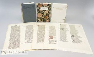 LETTERS FROM THE 15TH CENTURY: ON THE ORIGINS OF THE KELMSCOTT CHAUCER TYPEFACE, A STUDY, WITH SPECIMEN LEAVES, OF THE INFLUENCE OF THE EARLY GERMAN PRINTERS ON WILLIAM MORRIS' MASTERPIECE.