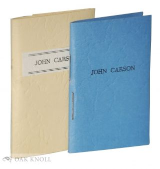 JOHN CARSON; OR, THE STRANGER IN THEIR MIDST. Robert L. Merriam