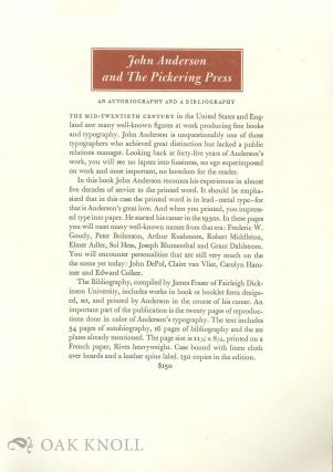 Prospectus for JOHN ANDERSON AND THE PICKERING PRESS, AN AUTOBIOGRAPHY. WITH A PICKERING PRESS...