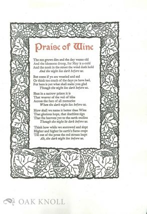 PRAISE OF WINE. William Morris