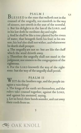 THE BOOK OF PSALMS, PRINTED ACCORDING TO THE AUTHORISED VERSION OF THE HOLY BIBLE, MDCXI.